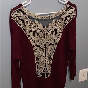 Charlotte Russe Laced See Through Open Back Top